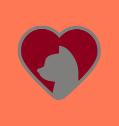 Flat icon on background cat heart vector