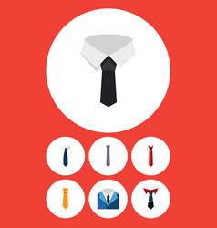 flat icon tie set of suit textile necktie and vector image vector image