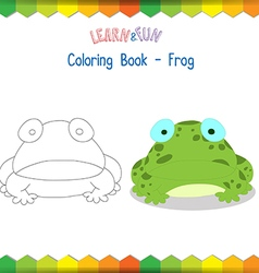 Frog coloring book educational game vector image vector image