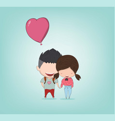 girl and boy with heart shaped balloon happy vector image