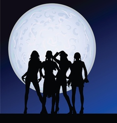 girl sexy on the moonlight vector image