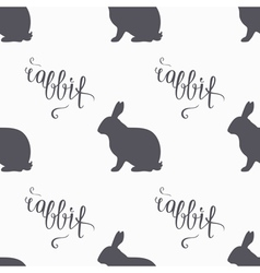 Hipster style hare seamless pattern rabbit meat vector