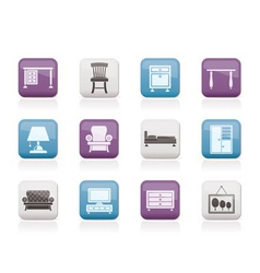 home equipment and furniture icons vector image