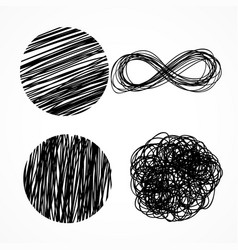 ink pen scribbles hand drawn set vector image