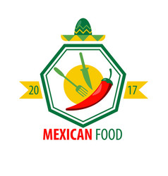 Mexican food logo design with kitchen cutlery and vector