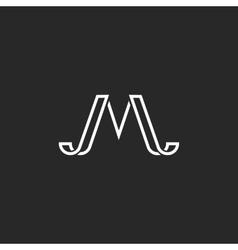 Monogram letter M logo simple hipster minimal vector image vector image