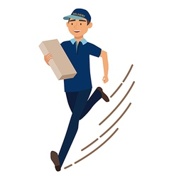 Running man with postal box Courier with parcel vector image