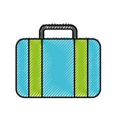 Scribble blue suitcase cartoon vector