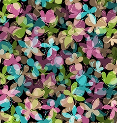 Seamless pattern of colored butterflies on black vector image vector image