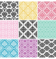 Set of seamless damask backgrounds vector image vector image