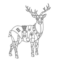 Steam punk deer coloring book vector