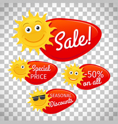 Summer sale labels on transparent background vector