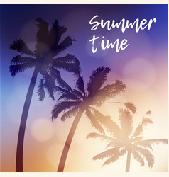 Summer time greeting card invitation silhouette vector