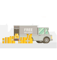 unloading or loading trucks shipping cargo vector image
