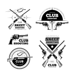 Vintage gun club labels logos emblems set vector image vector image