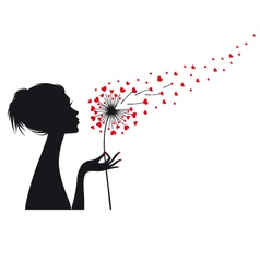 Woman holding dandelion with red hearts vector