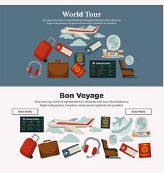 World tour and bon voyage promotional internet vector