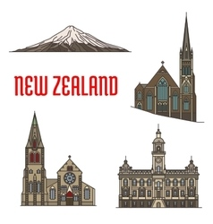 New zealand tourist attractions and landmarks vector