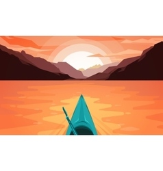 Canoe on lake sunset vector