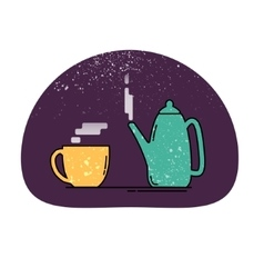 Teapot and cup icon vector