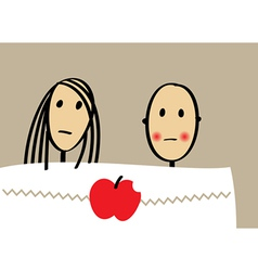 Young couple with apple in bed vector
