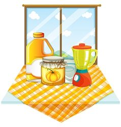 A table with a blender and containers vector image