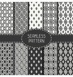 Set of monochrome geometric seamless pattern with vector