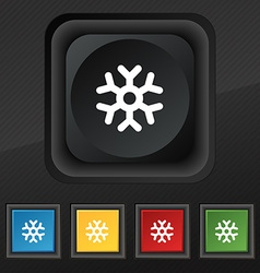 Snowflake icon symbol set of five colorful stylish vector