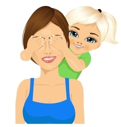 Little daughter covering mother eyes vector