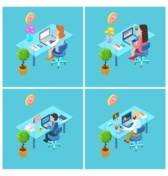 Workplace isometric office businessman at work vector