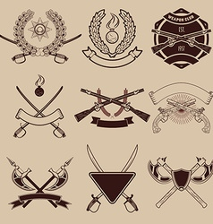 Set of weapon club emblems vector