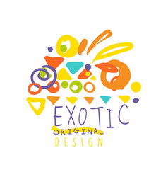 abstract hand drawn doodle exotic travel logo vector image vector image