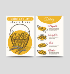 Baked goods brochure flyer template vector