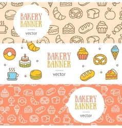 Bakery Banner Flyer Horizontal Set vector image vector image
