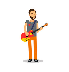 Bearded man playing guitar during concert cartoon vector