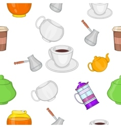 Beverage pattern cartoon style vector image vector image