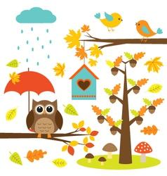 Birdstrees and owl vector