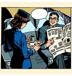Business class plane breakfast stewardess vector