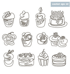 cakes outlined vector image