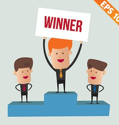 Cartoon business man on winner podium - - EP vector image