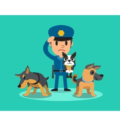 Cartoon security guard policeman with police guard vector