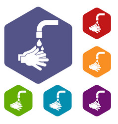 Cleaning hands icons set hexagon vector