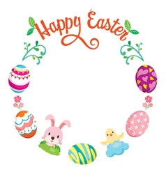 Easter egg decorating on circle frame vector
