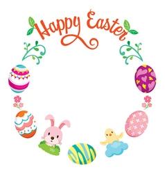 Easter Egg Decorating On Circle Frame vector image