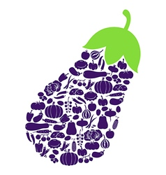 eggplant on vegetables vector image vector image