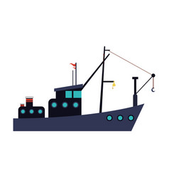 fishing boat icon vector image vector image
