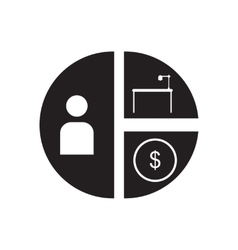 Flat icon in black and white financial chart vector