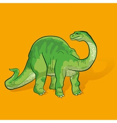 green cartoon cute dinosaur vector image