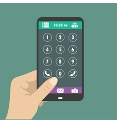 Hand holding smart phone dial buttons on the vector image