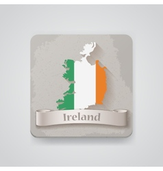 Icon of ireland map with flag vector